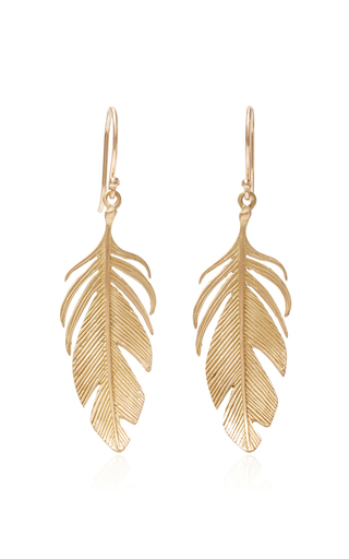 Medium annette ferdinandsen gold large feather earrings