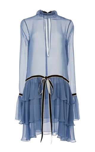 Medium wes gordon blue georgian ruffle dress