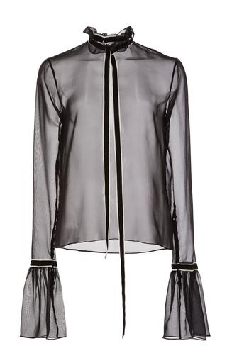 Medium wes gordon black black georgian silk blouse