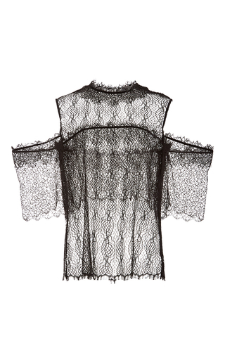 Medium wes gordon black off the shoulder tangled lace top