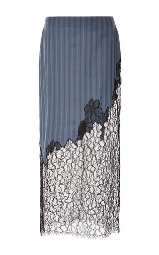Medium wes gordon blue lace insert striped jacquard skirt