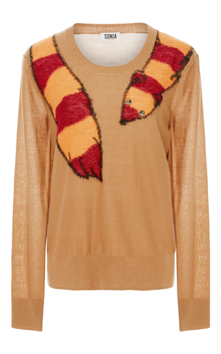 Medium sonia by sonia rykiel tan embellished fox intarsia sweater  2