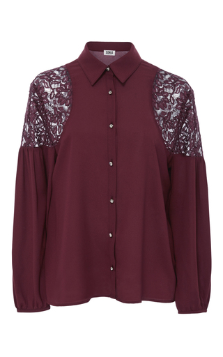 Medium sonia by sonia rykiel burgundy lace shoulder button up blouse