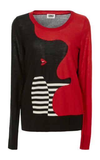 Medium sonia by sonia rykiel black profile intarsia wool sweater