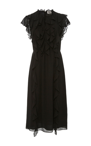 Medium sonia by sonia rykiel black ruffled georgette keyhole dress