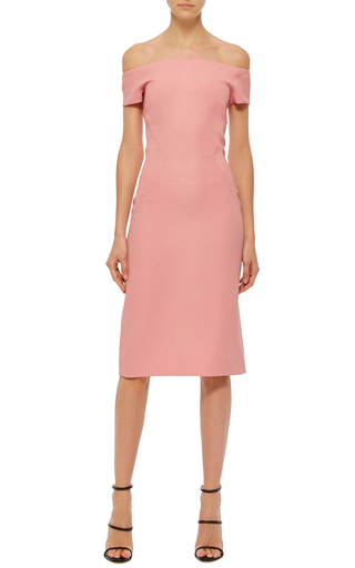 Off The Shoulder Midi Dress by PRABAL GURUNG Now Available on Moda Operandi
