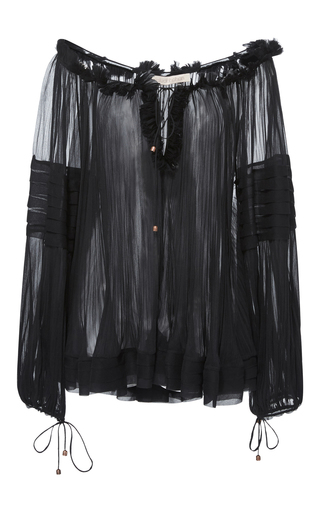 Medium maria lucia hohan black liana v neck bell sleeve sheer georgette top