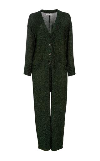 Medium apiece apart dark green vistas lurex jumpsuit