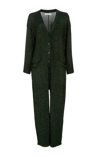 Medium apiece apart dark green vistas lurex jumpsuit