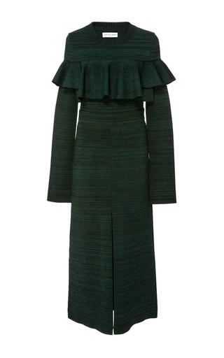 Medium apiece apart dark green plata ruffle tech dress