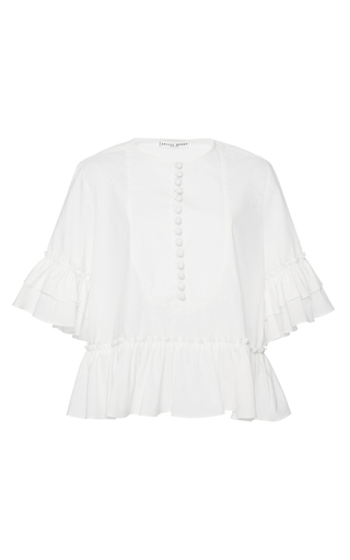 Medium apiece apart white zinnia ruffle arm blouse