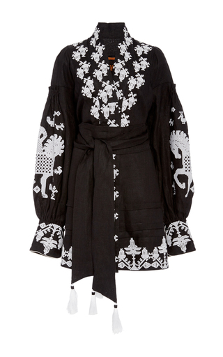 Medium yuliya magdych black cavaille mini caftan