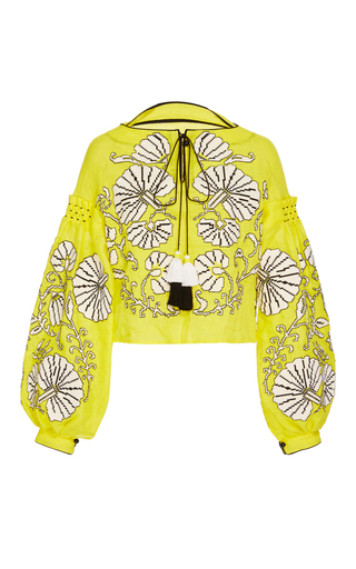 Medium yuliya magdych yellow flower shells blouse