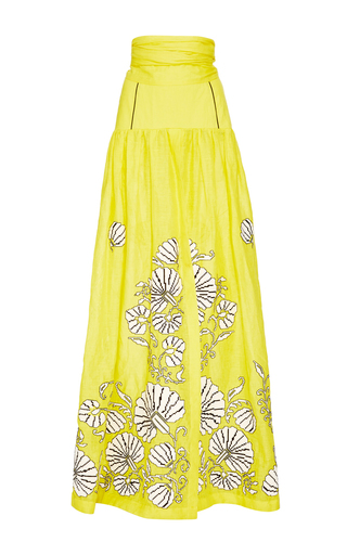 Medium yuliya magdych yellow flower shells skirt
