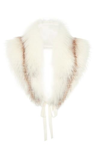 Medium brock white natural white sunglow fox fur scarf