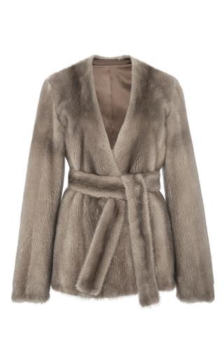 Medium brock light grey blue silver faye mink fur belted jacket