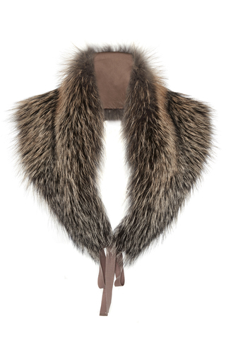 Medium brock brown silver blue sunglow fox fur scarf