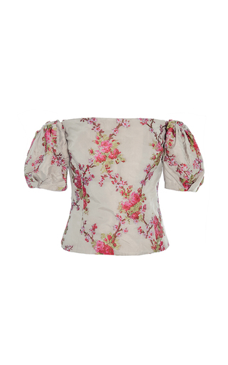 Medium brock floral boie off the shoulder blouse