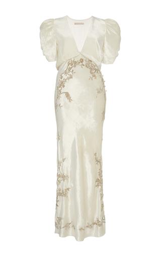 Medium brock white embroidered daryl v neck liquid velvet dress