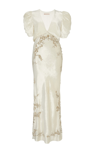 Medium brock white embroidered daryl v neck liquid velvet dress