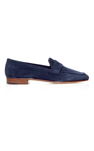 Medium mansur gavriel navy classic loafer  4