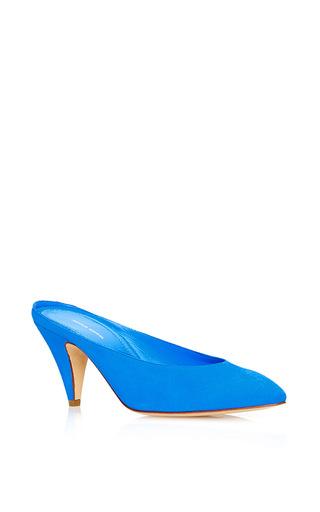 Medium mansur gavriel blue heel slipper  3