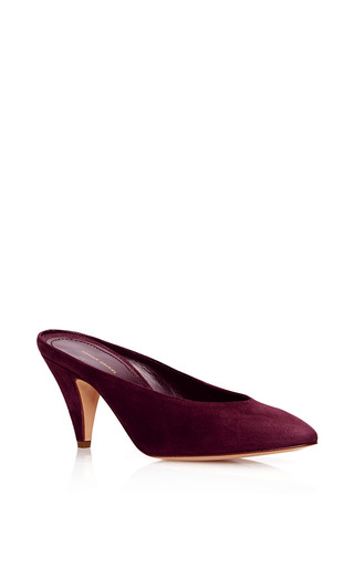 Medium mansur gavriel burgundy heel slipper  4