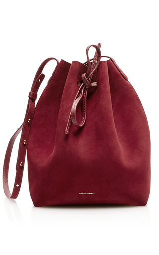 Medium mansur gavriel burgundy bucket bag
