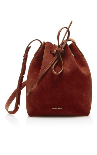 Medium mansur gavriel brown mini bucket bag  2