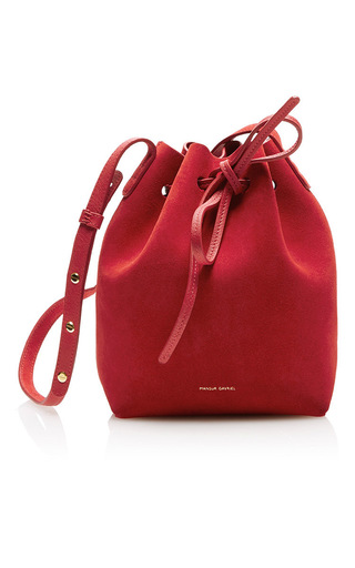 Medium mansur gavriel red mini bucket bag  3
