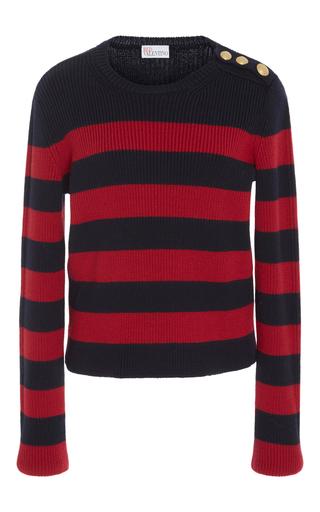 Medium red valentino navy striped ribbed sweater