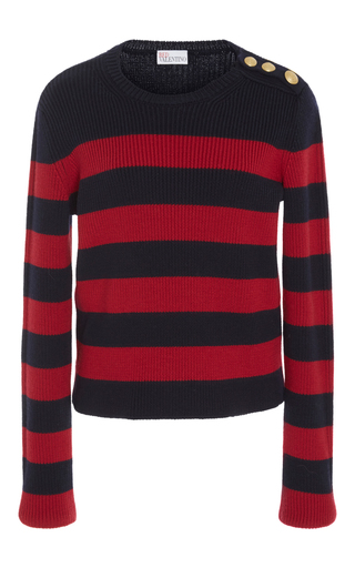 Medium red valentino navy striped ribbed sweater