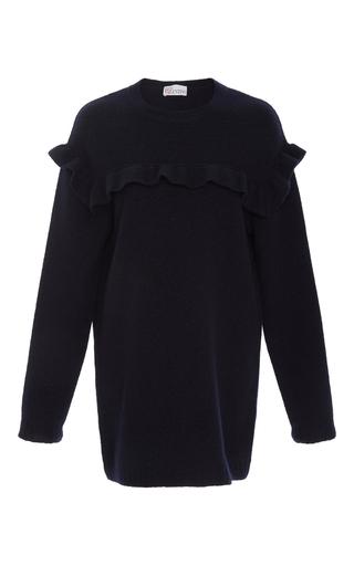 Medium red valentino navy oversized ruffle sweater