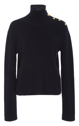Medium red valentino navy crest button turtleneck