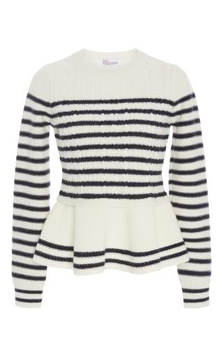 Medium red valentino stripe peplum striped sweater