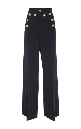 Medium red valentino navy crest button wide legged pant