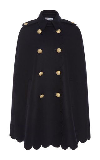 Medium red valentino navy scalloped cape with crest buttons