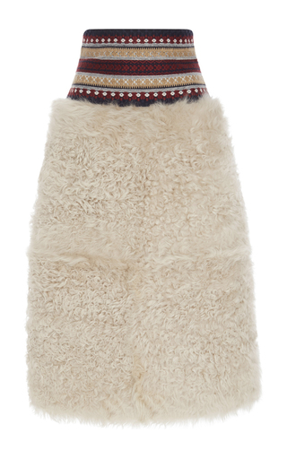 Medium red valentino neutral shearling skirt with embroidery