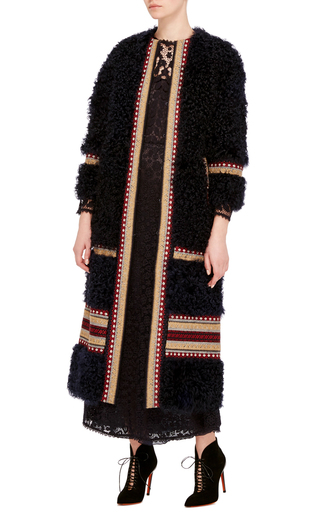 Shearling Long Coat With Embroidery by RED VALENTINO Now Available on Moda Operandi