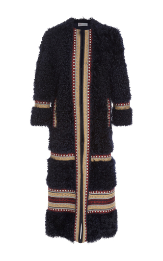 Medium red valentino navy shearling long coat with embroidery