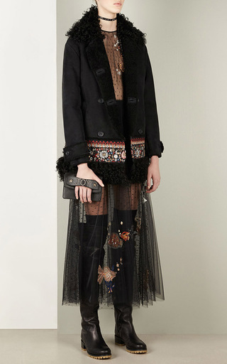 Shearling Coat With Embroidery by RED VALENTINO Now Available on Moda Operandi