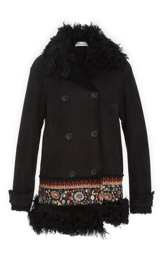 Medium red valentino black shearling coat with embroidery