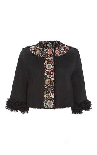 Medium red valentino black cropped jacket with floral embroidery