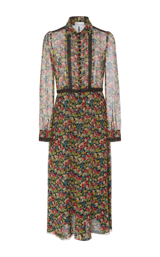Medium red valentino multi long sleeve floral shirt dress