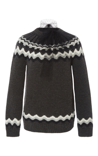 Medium red valentino dark grey nordic crewneck sweater