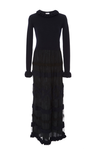 Medium red valentino navy lace dress with ruffle mock neck