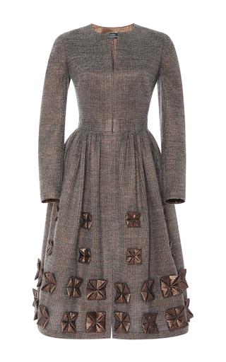 Medium alena akhmadullina bronze long sleeve leather applique dress