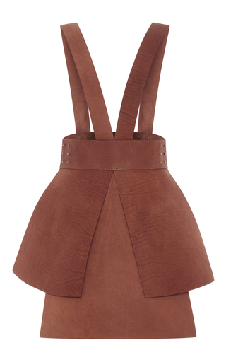 Medium alena akhmadullina brown leather suspender skirt