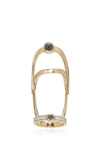 Medium ara vartanian gold full finger black and white diamond ring
