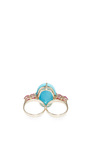 Turquoise And Ruby Double Finger Ring  by ARA VARTANIAN Now Available on Moda Operandi